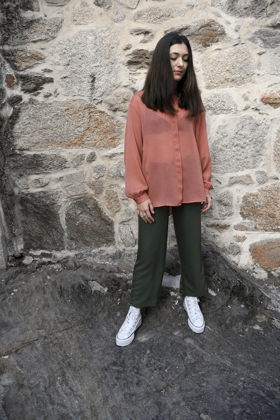 blusa laranxa oversize